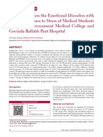 2013 a Study to Assess the Emotional Disorders With Special Reference to Stress of Medical Students of Agartala Government Medical College and Govinda Ballabh Pant Hospital