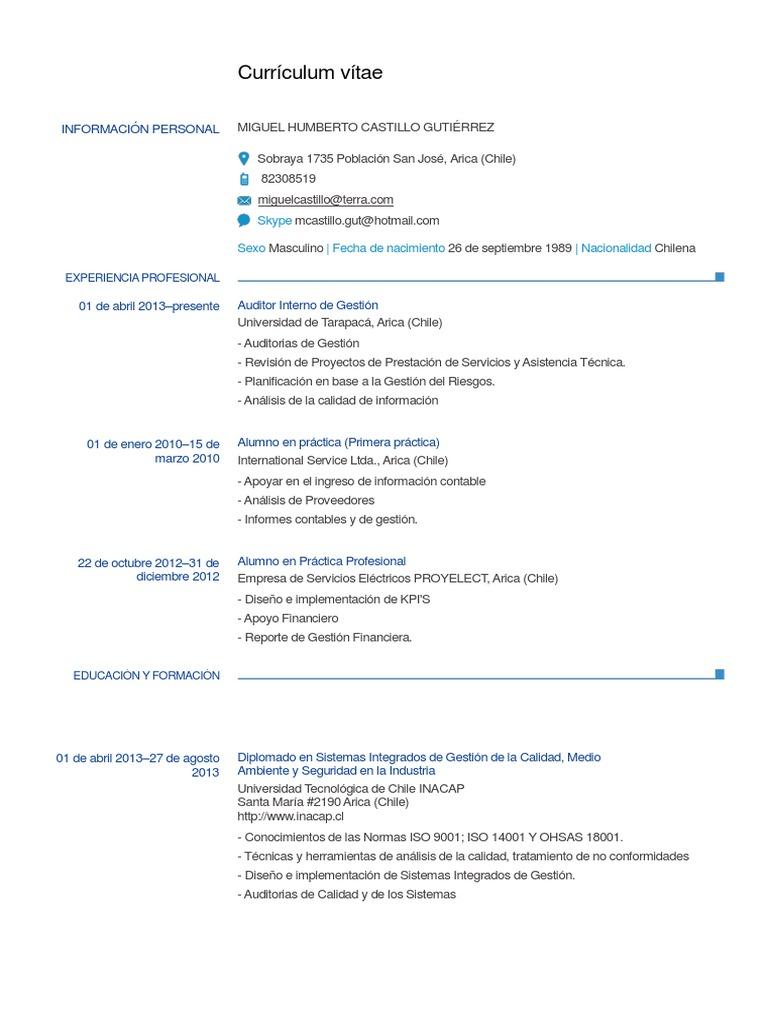 Miguel Castillo Curriculum Vitae 1