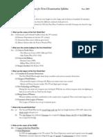 Form 5 World History Term I Examination Syllabus