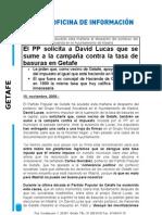 Nota Prensa PP Getafe, 10.11.09, PP Pide Apoyo a David Lucas