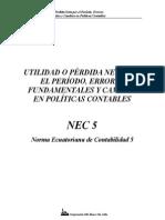 NEC 05 Utilidad o Perdida Neta Por El Periodo Errores Fundamentales y Cambios en Politicas Contables