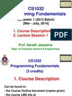 CS1032 2013Batch Lecture 1