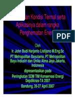 Faktor2 Dan Kondisi Termal Untuk Penghematan Energy