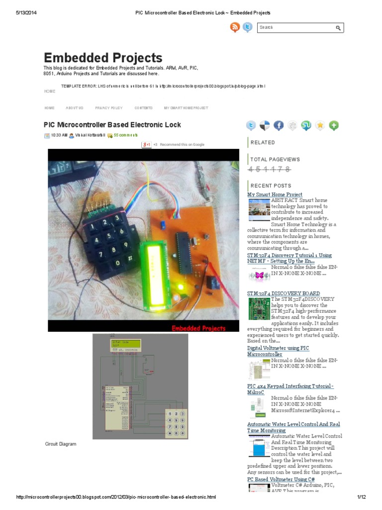 Pic Microcontroller Based Electronic Lock Embedded Projects Digital Thermometer With Pic16f84 Circuit
