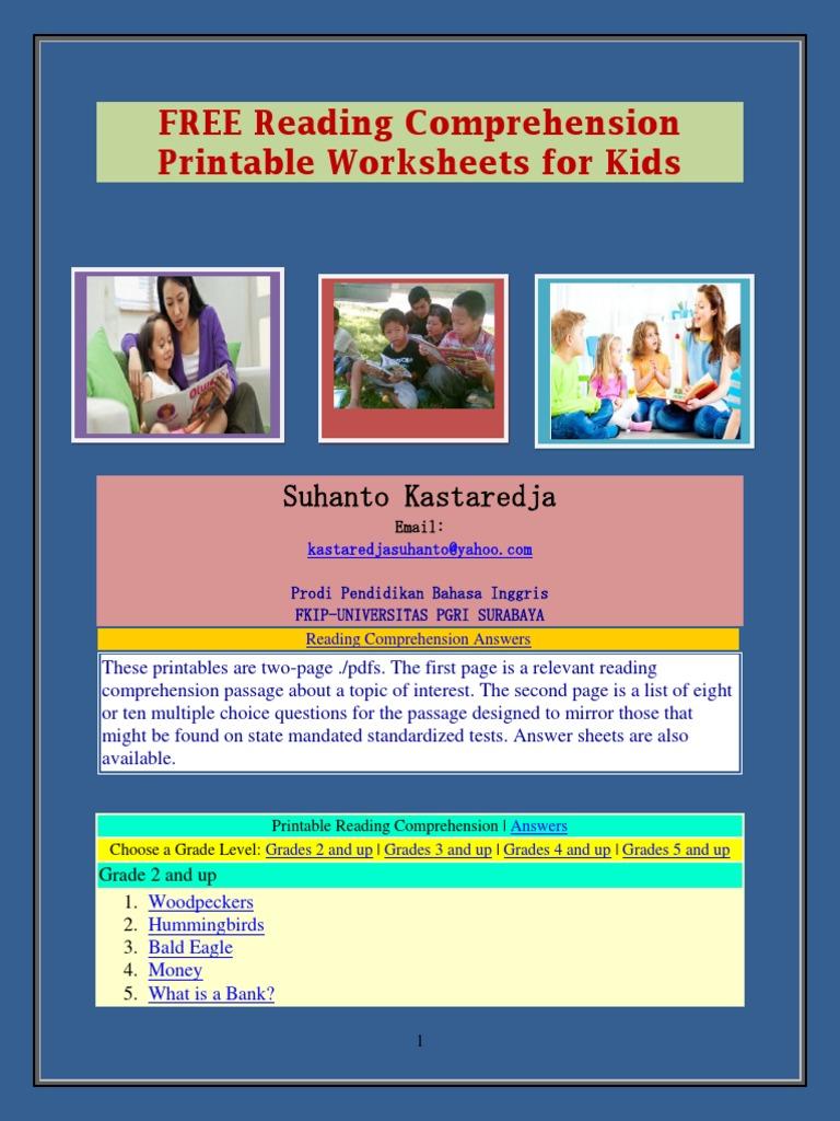 - FREE Reading Comprehension Printable Worksheets For Kids