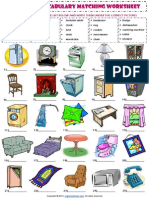 In My House Furniture Vocabulary Matching Exercise Worksheet
