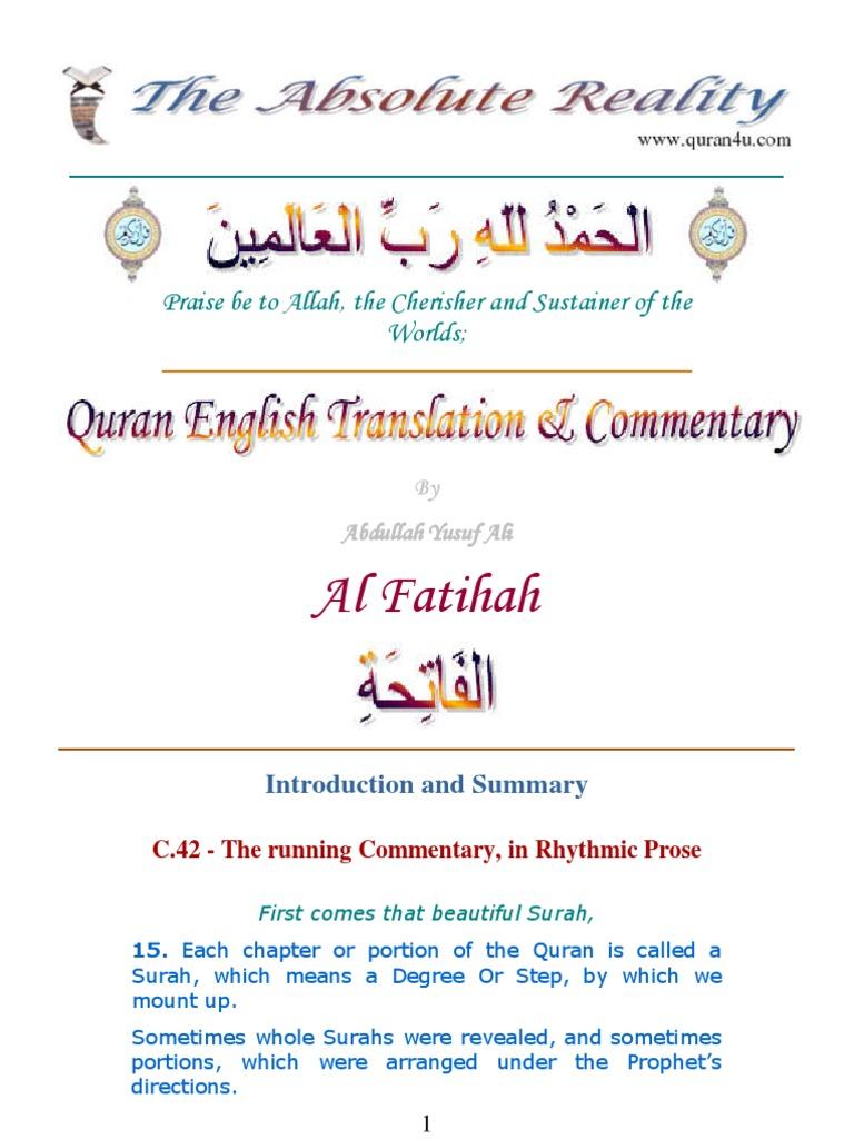 001 Fatihah Quran Surah Fatihah Arabic English Tafsir (Commentary