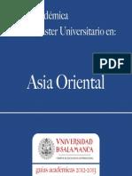 Master Universitario en Asia Oriental 2012-2013