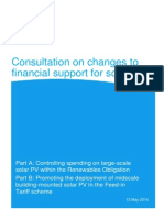 Consultation on Changes to Financial Support for Solar PV