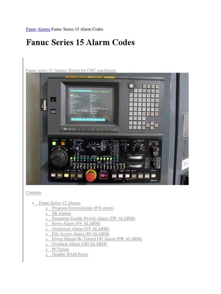 Fanuc Alarms Fanuc Series 15 Alarm Codes | Computer Engineering