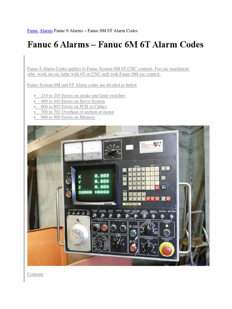 Fanuc Alarms Fanuc 6 Alarms | Parameter (Computer