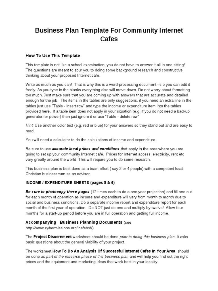 Business Plan Template for Community Internet Cafes | Depreciation