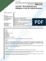 NBR 5738 - Moldagem e Cura de Corpos-De-prova Cilindricos Ou Prismaticos de Concreto