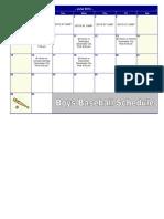 June Baseball Schedule