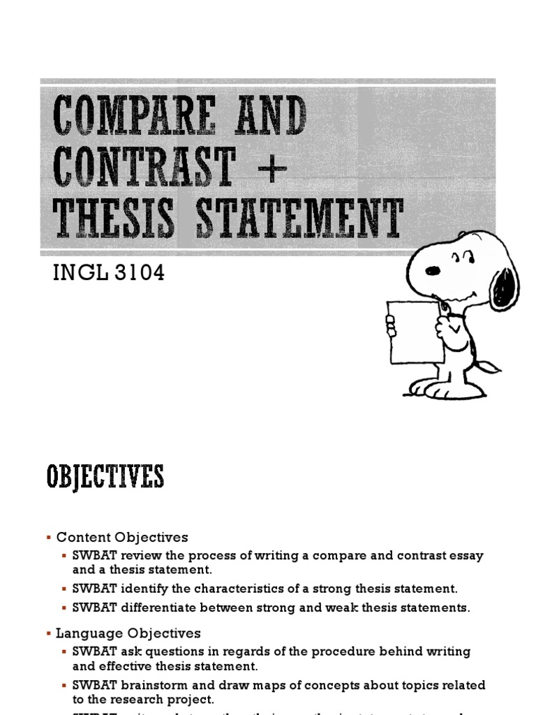 compare and contrast thesis statement  essays  thesis