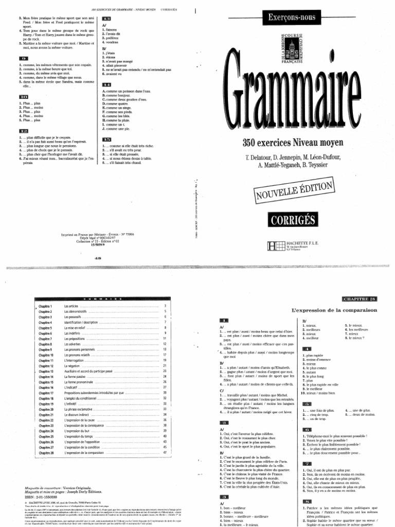 0 Hachette Grammaire Francaise 350 Exercices Niveau Moyen Corriges