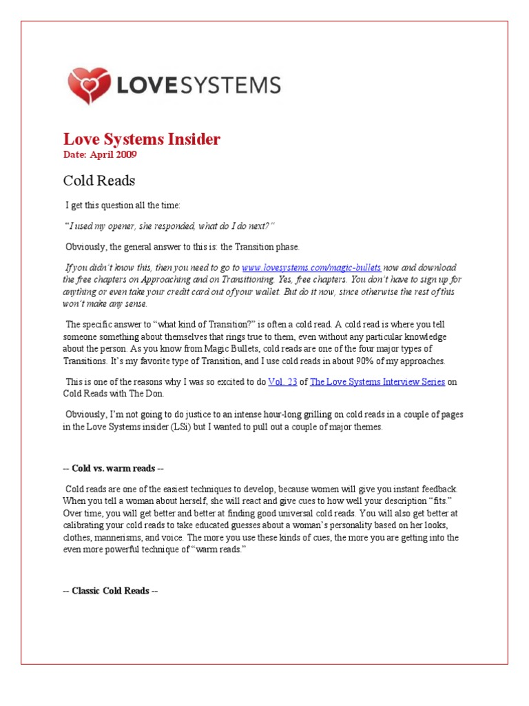Love Systems Insider: Cold Reads, Transitioning | Psychological Concepts |  Psychology & Cognitive Science
