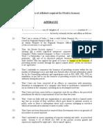 Affidavit for Psara Licence