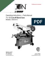Bandsaw 7x12 Manual 3410