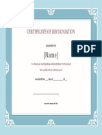 Certificate of Recogniation Template