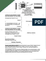 Strunk's Judicial Notice of Replevin Demand DCD 08-Cv-2234 111009