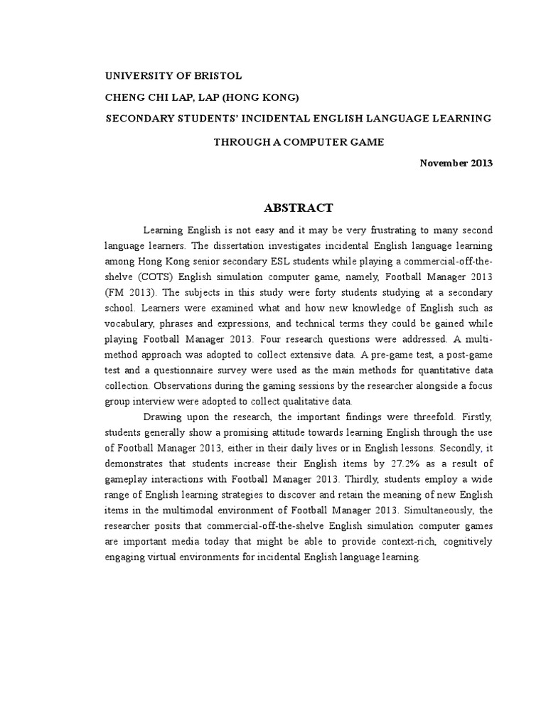 Tefl phd thesis