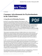 2009 Psychiatric TImes Misleading Advertisements for Stimulants