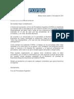 Carta de Fopea al Ministro Kicillof