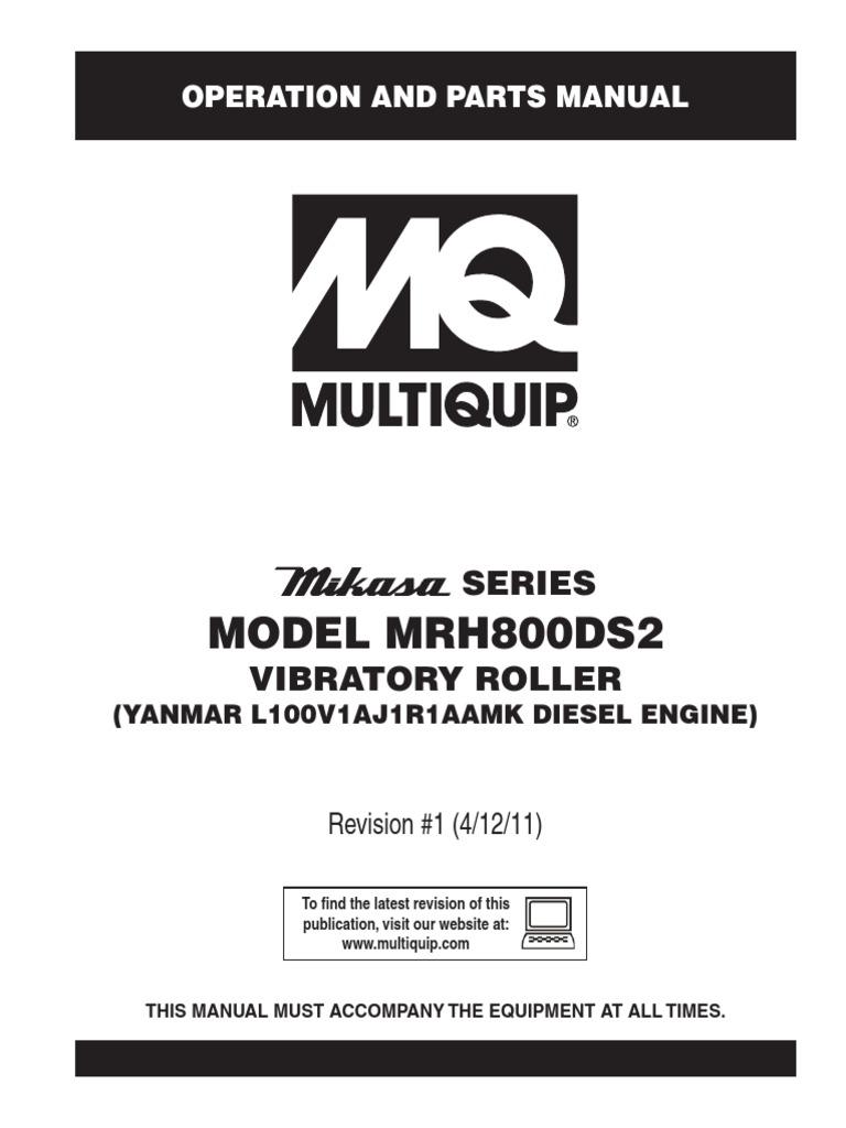 Manual De Partes Y Operacion Rodillo Compacatdor Tanden Mikasa Mrh Yanmar 1500 Engine Diagram 800ds2 Motor Diesel Clutch Battery Electricity