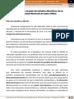 Anteproyecto de Plan de Estudios Filosóficos de La Universidad Nacional de Salta