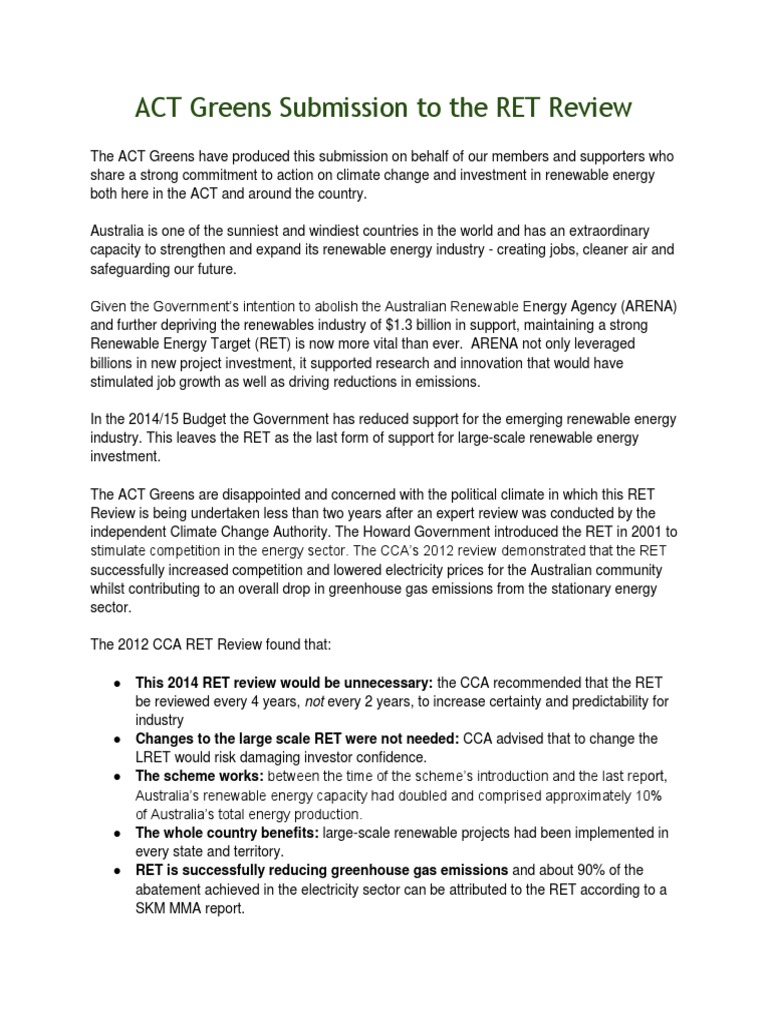 Act Greens Submission to the RET Review   Renewable Energy ...
