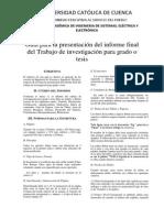 Guía Para La Presentación Del Informe Final Del Trabajo de Investigación Para Grado o Tesis