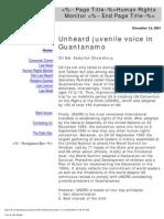 Unheard Juvenile Voice in Guantanamao