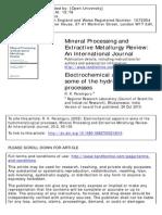 Aspectos Electroquímicos en Los Procesos Hidrometalúrgicos