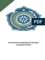 Daftar Hadir Tim Penggerak Pkk Dan Kader Kelurahan Setiabudi