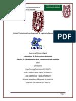 Reporte 8 Determinación de Proteínas (Bradford)
