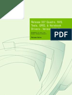 337 50 Win8 Win7 Winvista Quadro Grid Release Notes | Hdmi