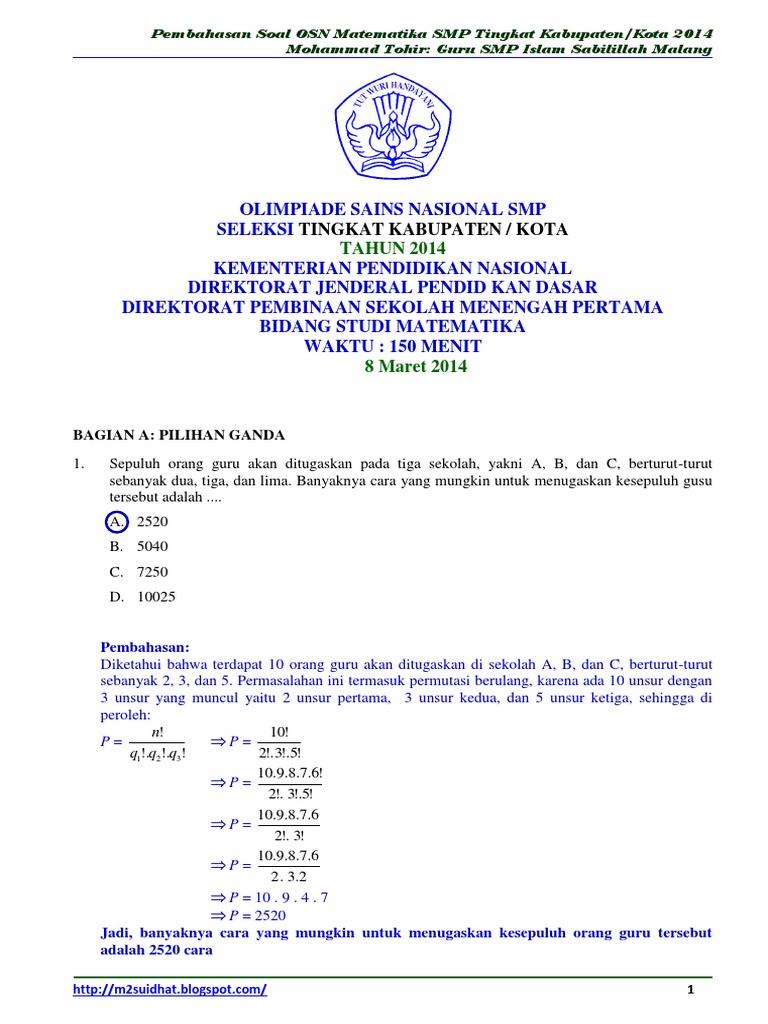 Soal Dan Pembahasan Osn Matematika Smp Tingkat Kota 2014 Bagian A