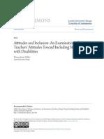 Attitudes and Inclusion- An Examination of Teachers Attitudes To