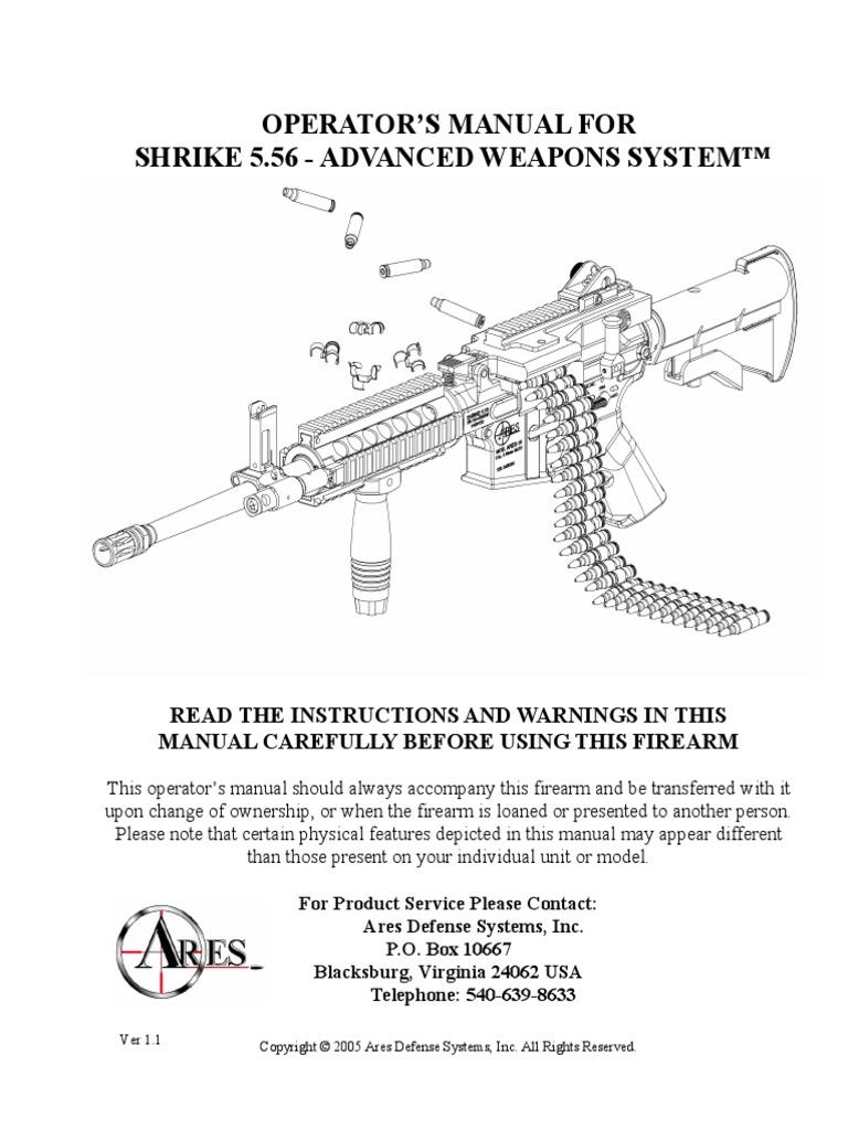 Ares Shrike 5 56 Manual Ver1 1 Cartridge Firearms Magazine Mosin Nagant Gun Schematic