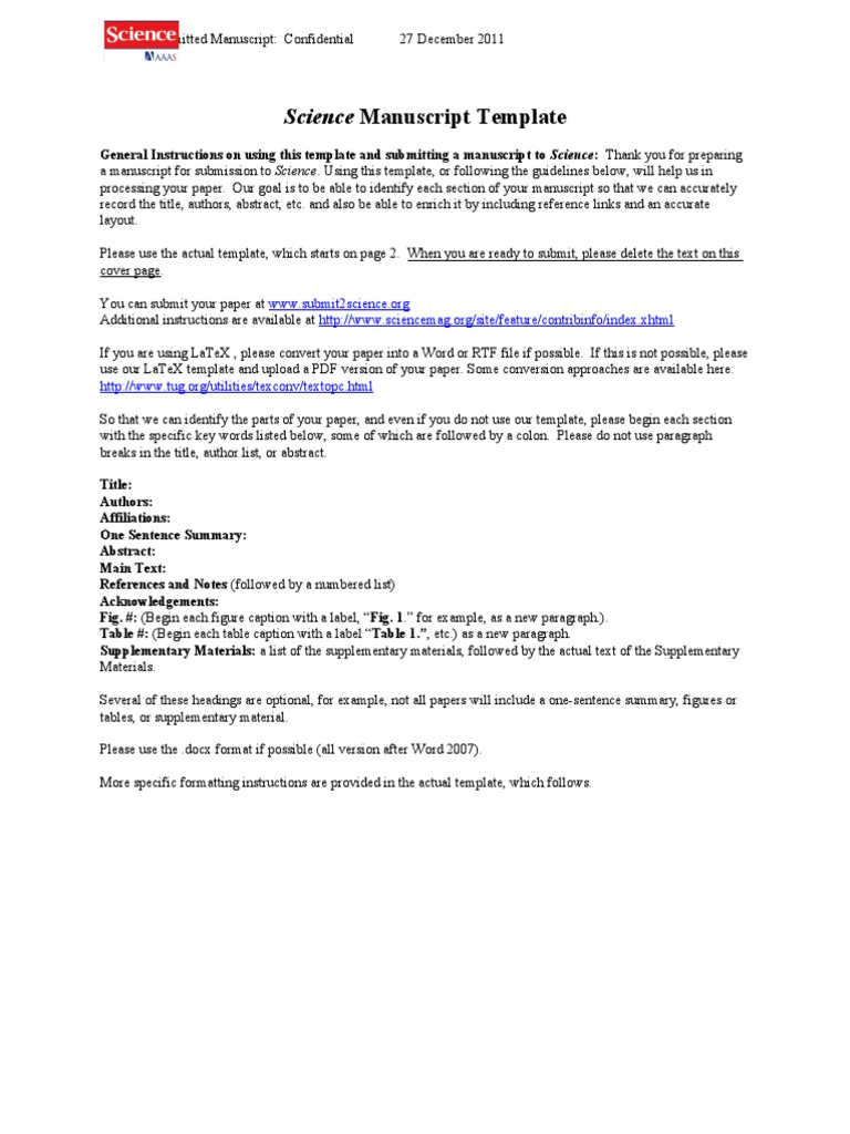 Science Manuscript Word Template | Paragraph | Text