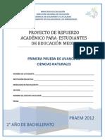 Primera Prueba de Avance de Ciencias Naturales - Segundo Anio de Bachilllerato - PRAEM 2012