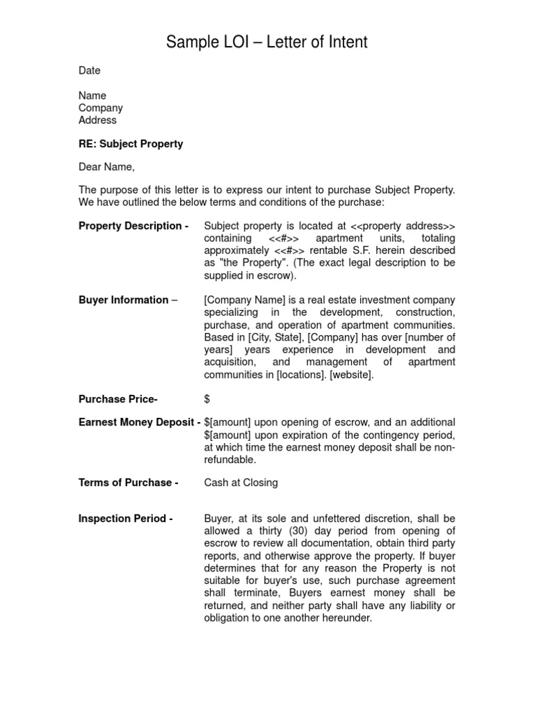sample letter of intent loi real estate investing business
