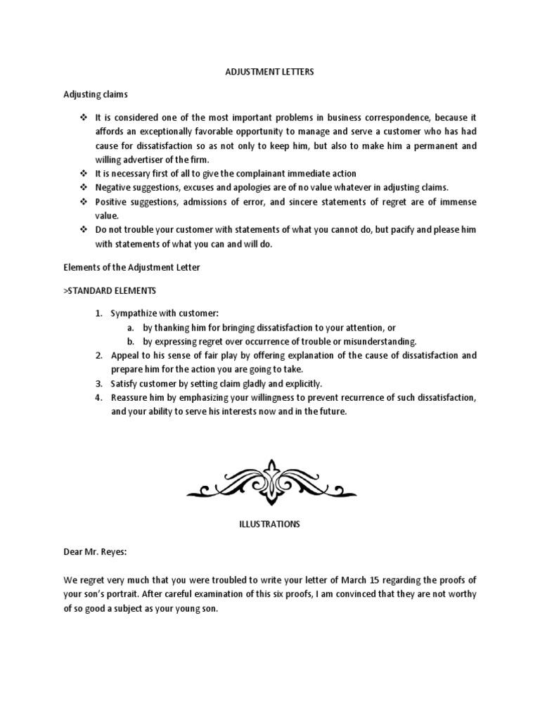 Elements of the adjustment letter business altavistaventures Images