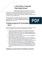 Formatting a Hard Drive Using the Windows Operating System