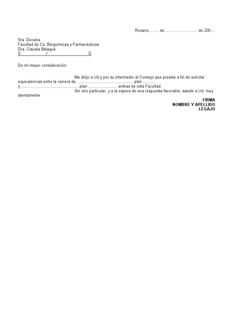 Carta modelo equivalencias