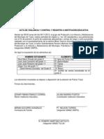 Acta de Vigilancia y Control y Registro a Institución Educativa