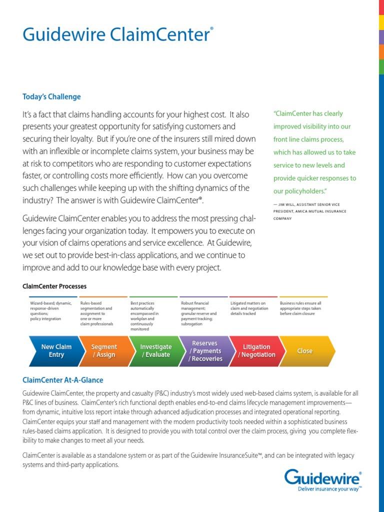 brochure guidewire claimcenter