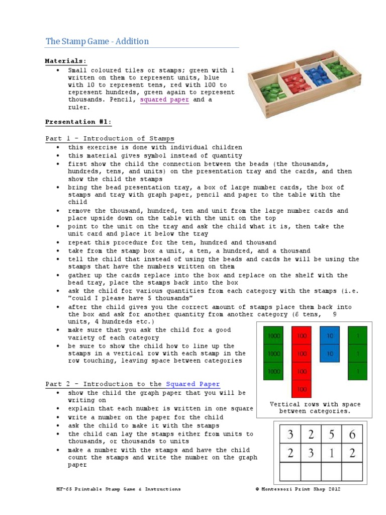 748f0fba Montessori Stamp Game With Full Instructions | Subtraction | Division  (Mathematics)