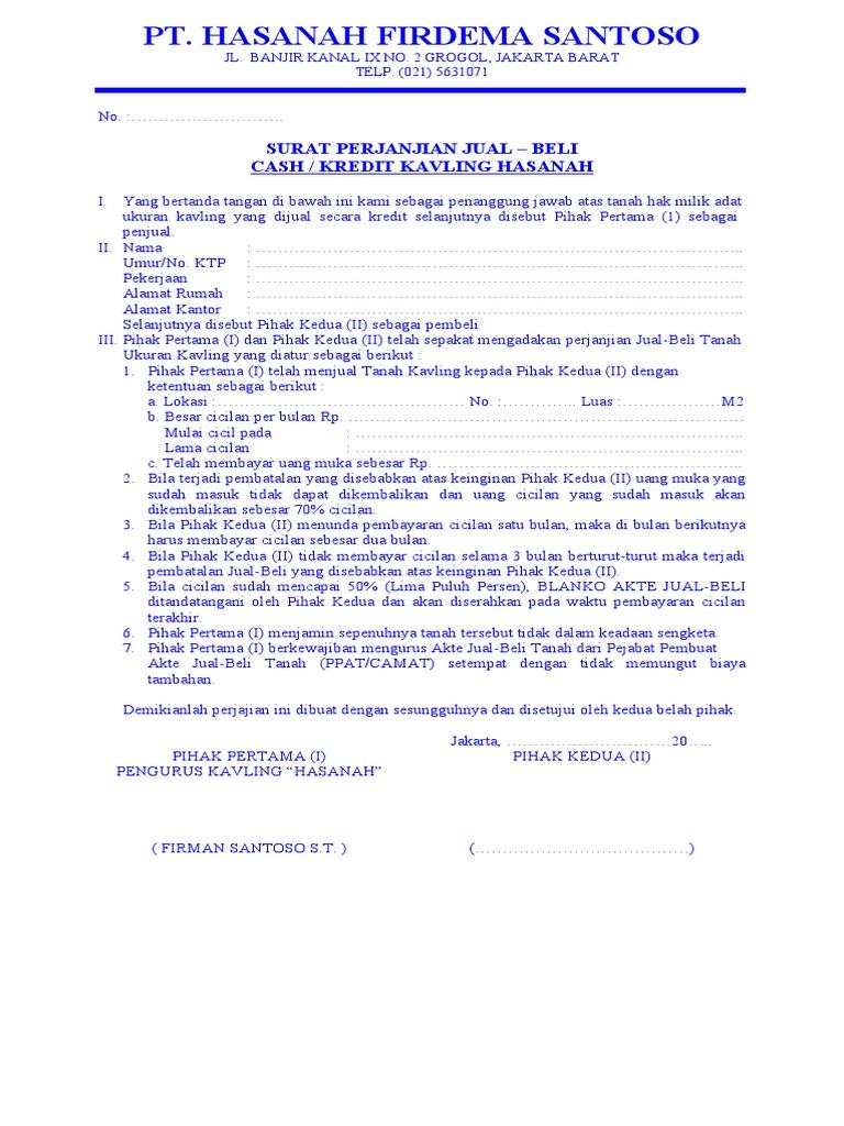 Surat Perjanjian Kavling